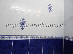 Плитка на стене в бане