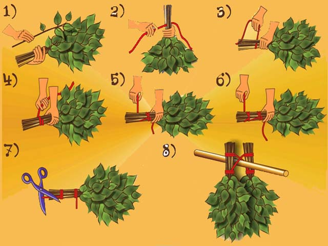 Видео как вязать веники