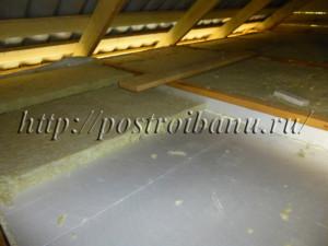 Утепление потолка в бане минватой