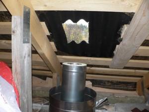 Как вывести трубу в бане через потолок и крышу